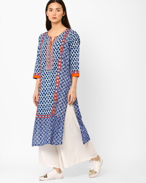 Printed Straight Kurta With Embroidery By Kifahari ( Blue ) - 460044919001
