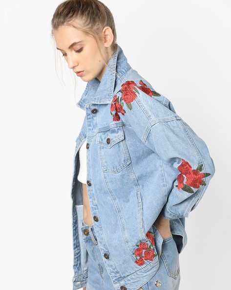 Denim Jacket With Floral Embroidery By Liquor N Poker ( Blue )
