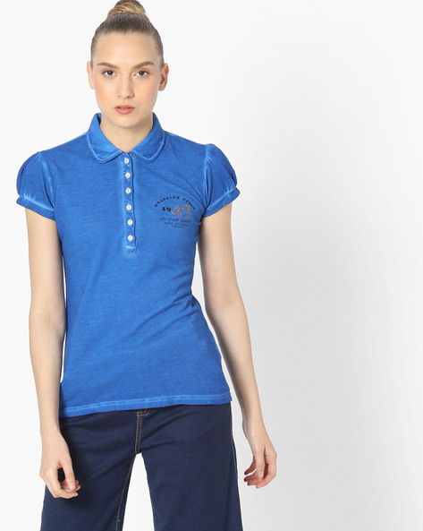 T-shirt With Spread Collar By WRANGLER ( Blue )