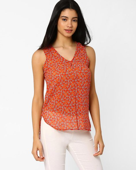Floral Print Sleeveless Top By ANONYMOUS CO ( Brtmulti ) - 440716252002