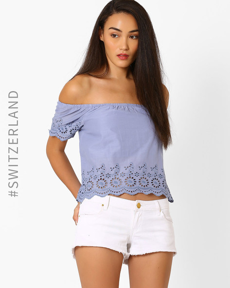 Off-Shoulder Top With Eyelets By TALLY WEiJL ( Blue )