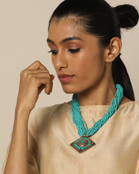 Multi Strand Glass Bead Necklace With Pendant By IMLI STREET ( Blue )