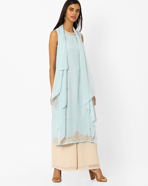 Kurta With Attached Asymmetric Dupatta By AJIO ( Lightblue )