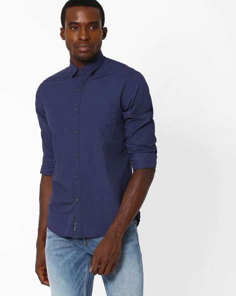 Regular Fit Casual Shirt By Pepe Jeans ( Navy )