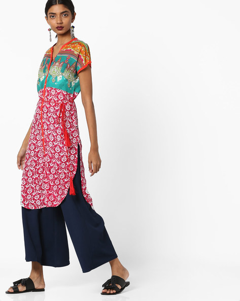 All-Over Print Panelled Straight Kurta By Juniper ( Magenta )
