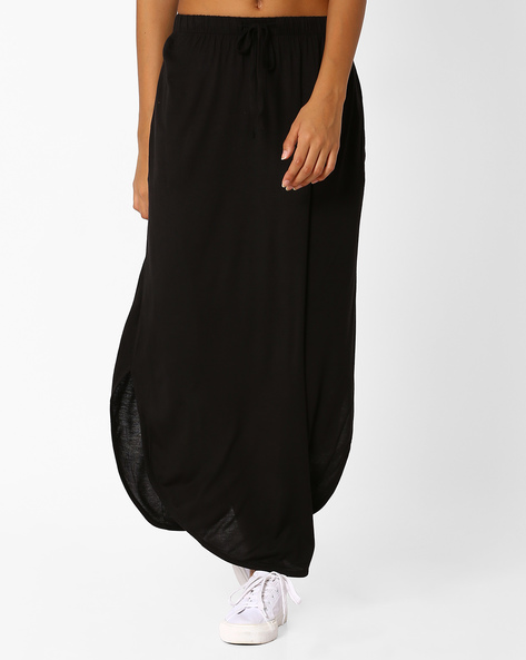 Maxi Skirt With Curved Hemline By Only ( Black )