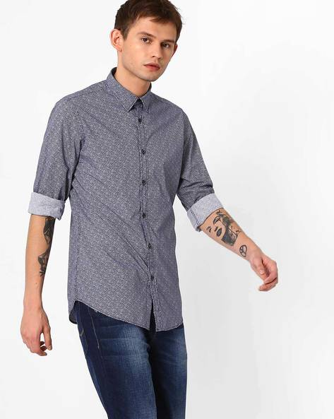 All-Over Print Poplin Shirt By ADAMO LONDON ( White )