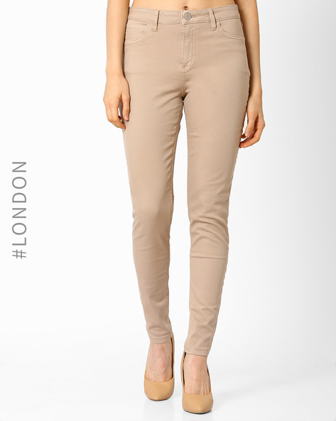High-Waist Super-Skinny Jeans By Marks & Spencer ( Brown )