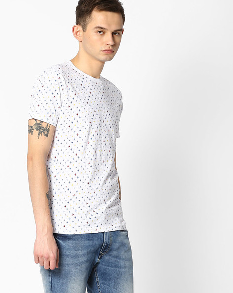 Slim Fit All-Over Print T-shirt By Pepe Jeans ( White )