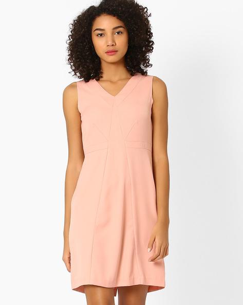 Panelled Sheath Dress By AJIO ( Pink )