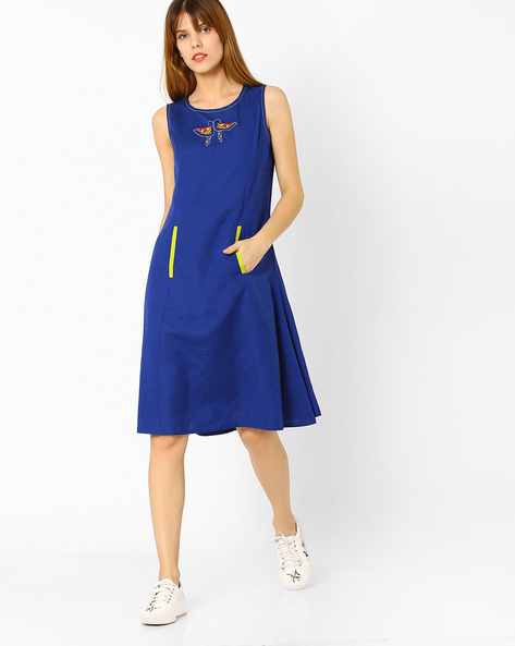 Embroidered A-line Dress With Pockets By Global Desi ( Blue )
