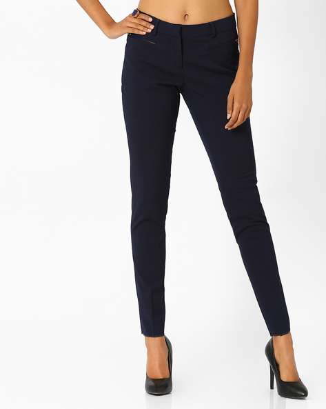 Cropped Trousers By Annabelle By Pantaloons ( Navyblue )