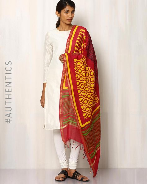 Hand Block Print Chanderi Dupatta By Indie Picks ( Multi ) - 460016460001