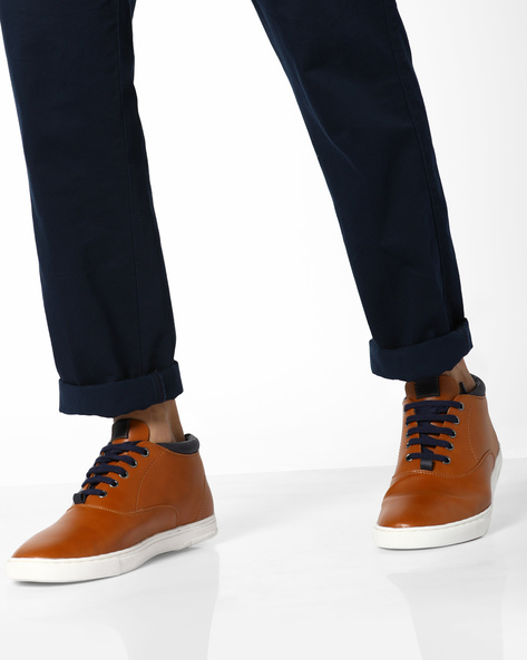 N9-Treated Faux Leather Sneakers By AJIO ( Tan )