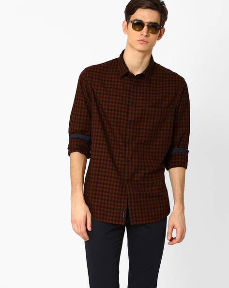 Gingham Check Shirt With Patch Pocket By INDIAN TERRAIN ( Khaki )