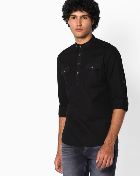 Slim Fit Cotton Shirt By The Indian Garage Co ( Black )