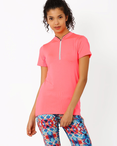 High-Neck T-shirt By AJIO ( Pink )