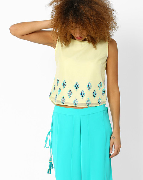 Sleeveless Top With Embroidery By AJIO ( Yellow )