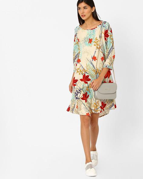 Floral Print Tunic By Global Desi ( Aqua )