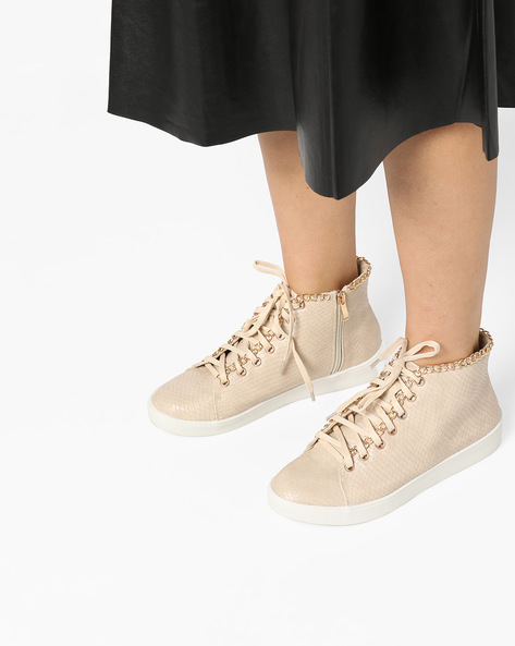 Textured High-Top Lace-Up Shoes By Carlton London ( Nude )