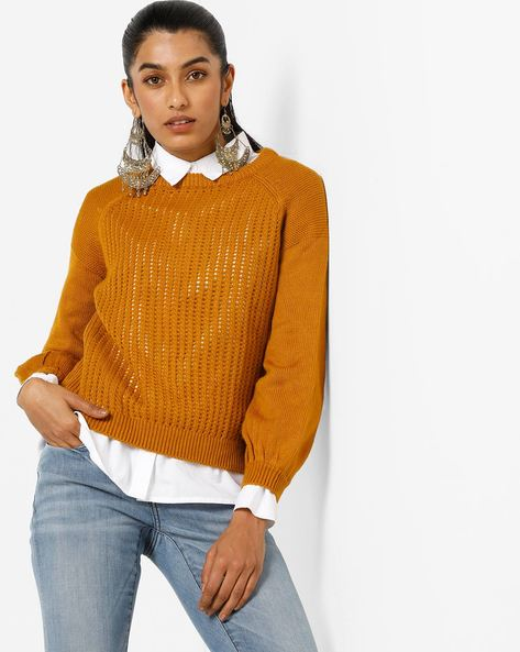 Drop-Shoulder Pullover With Raglan Sleeves By Only ( Brown )