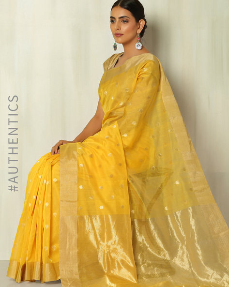 Handloom Silk Cotton Chanderi Floral Jamdani Buti Saree By Indie Picks ( Yellow )