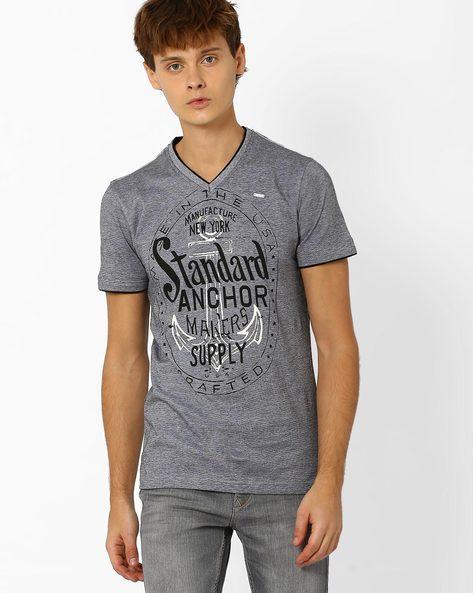 Graphic Print V-neck T-shirt By TEAM SPIRIT ( Charcoal )