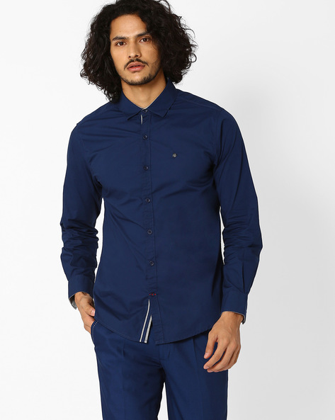 Slim Fit Shirt With Spread-Collar By SPYKAR ( Navy )