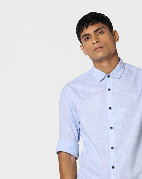Textured Shirt With Spread Collar By AJIO ( Yellow )
