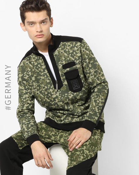 Camouflage Print Sweatshirt With Patch Pocket By Dangerous DNGRS ( Camouflage )
