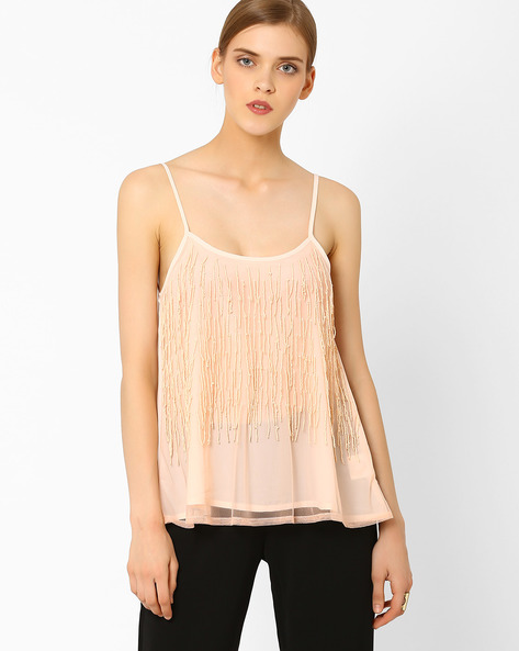 Strap Top With Fringes By AJIO ( Nude )