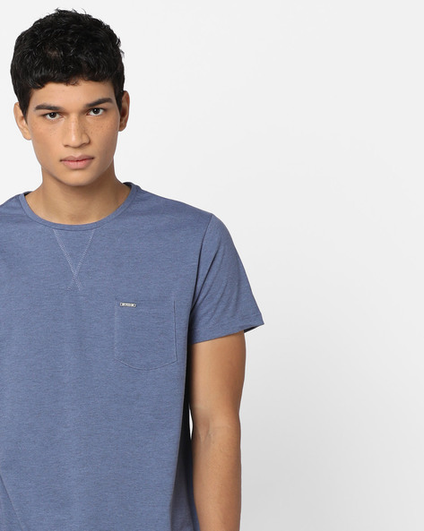 Crew-Neck T-shirt With Patch Pocket By AJIO ( Blue )