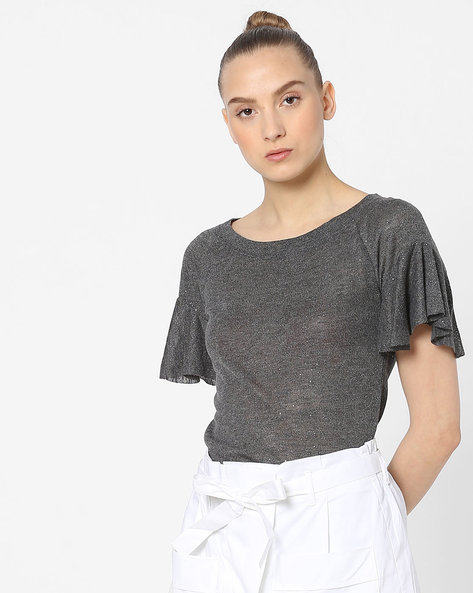 Crew-Neck Knit Top With Flared Sleeves By Ginger By Lifestyle ( Charcoal )