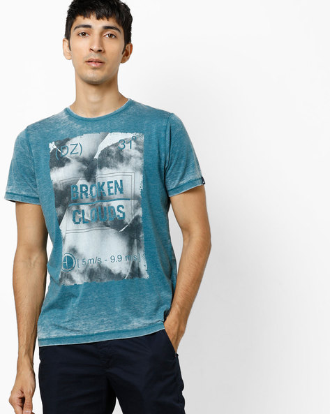 Graphic Print Crew-neck T-shirt By BASICS ( Green )