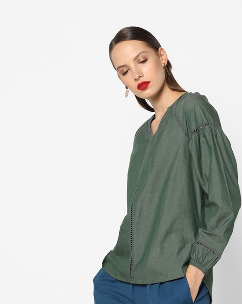 Panelled Top With Ladder Embroidery By AJIO ( Olive )
