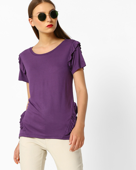 Top With Ruffled Panels By DNMX ( Purple )