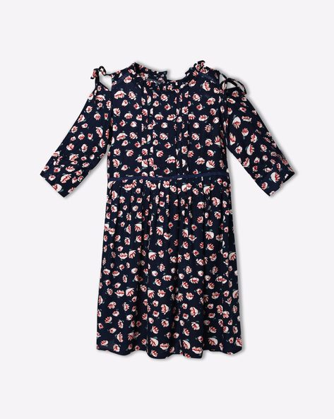 Floral Print Cold-Shoulder Dress By RIO GIRLS ( Blue )