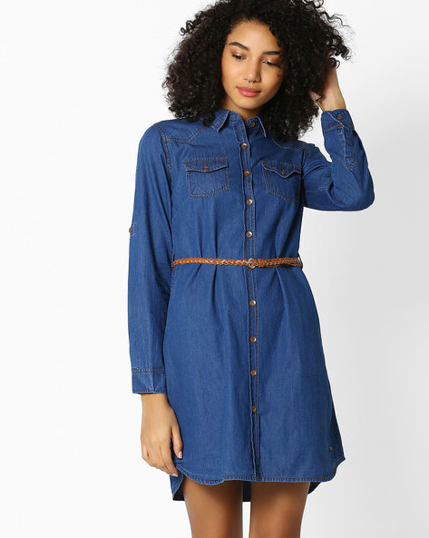 Denim Shirt Dress With Belt By DNMX ( Darkblue )