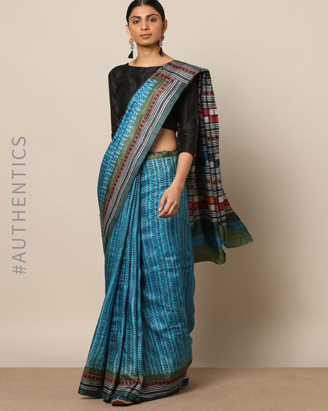Handblock Print Pure Silk Tussar Handloom Saree By Indie Picks ( Multi ) - 460177018001