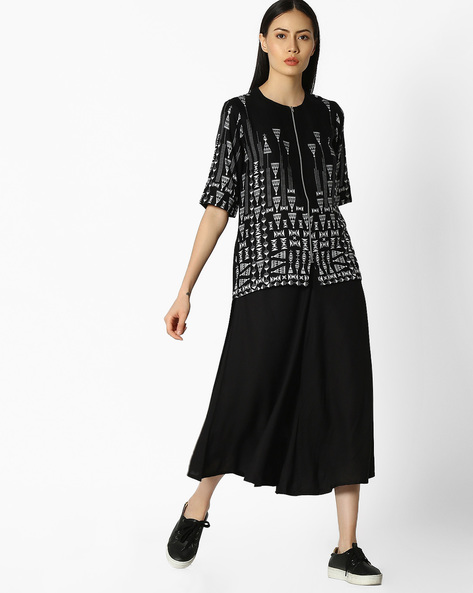Printed Layered Kurta With Front Zipper By COLOUR ME ( Black )
