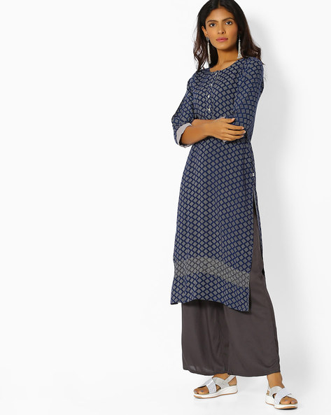 All-Over Print Straight Kurta By AVAASA WORKWEAR ( Navy )
