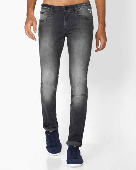 Mid-Washed Distressed Jeans By Pepe Jeans ( Grey )