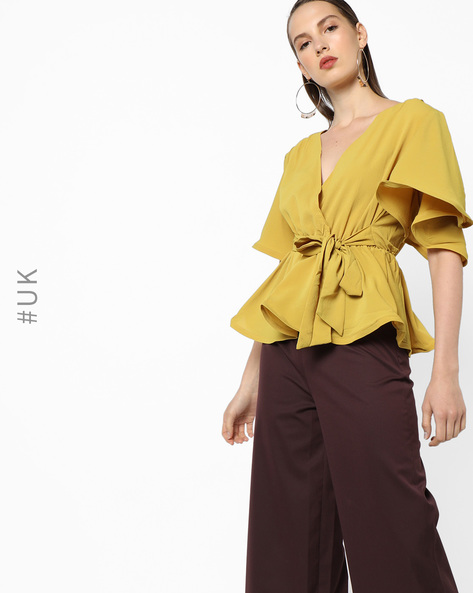 Peplum Top With Surplice Neckline By OEUVRE ( Yellow )