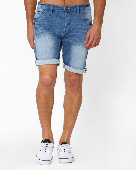 Lightly Washed Denim Shorts By DNM X ( Mediumblue )