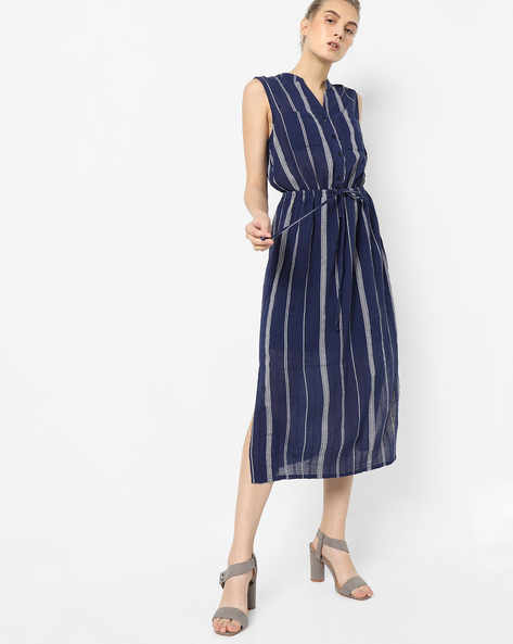 Striped Midi Dress With Side Slits By Oxolloxo ( Navy )