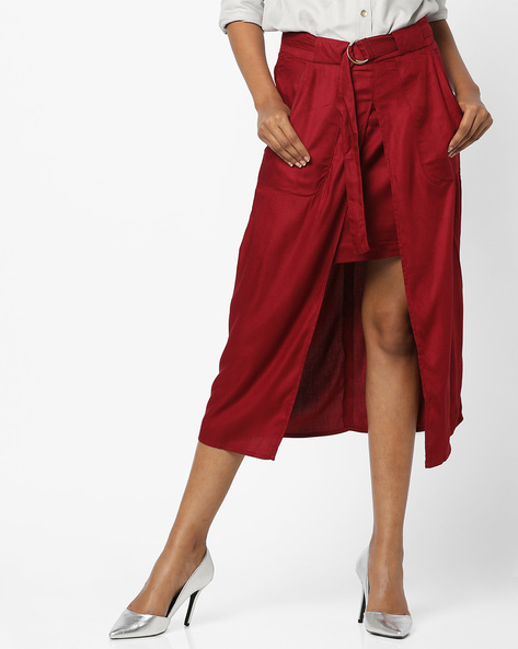 Belted Midi Skirt With Front Slit By AJIO ( Maroon )