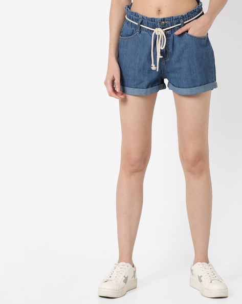 Denim Shorts With Rope Belt By AJIO ( Lightblue )