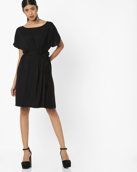 Knee-Length Dress With Waist Tie-Up By Tokyo Talkies ( Black )
