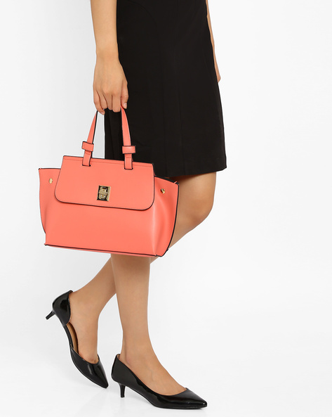 Handbag With Flap Closure By Lavie ( Pink )