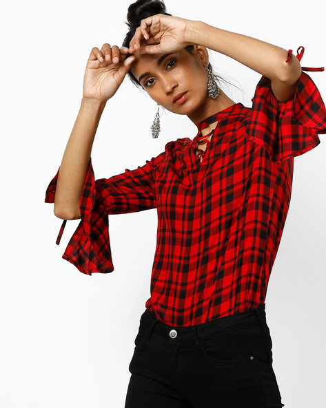 Checked Shirt With Tie-Ups By KRAUS ( Red )